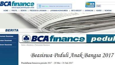 Photo of Mahasiswa S1, Beasiswa 'BCA Finance Peduli 2017' Sudah Dibuka, Segera Daftar!