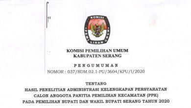 Photo of Pengumuman Hasil Administrasi Kelengkapan Persyaratan Calon PPK Kabupaten Serang
