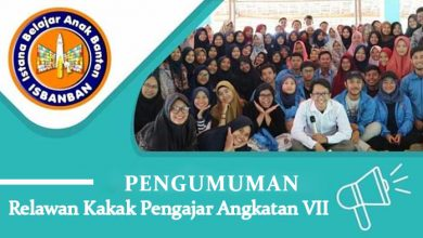 Photo of Pengumuman Kakak Relawan Isbanban Foundation Angkatan VII