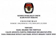 Photo of Pengumuman Hasil Tes Tertulis Calon Anggota PPK Pilbup Kabupaten Serang 2020